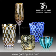 Wedding Hand blown garbo glass colored glass cup decoration crystal glassware set