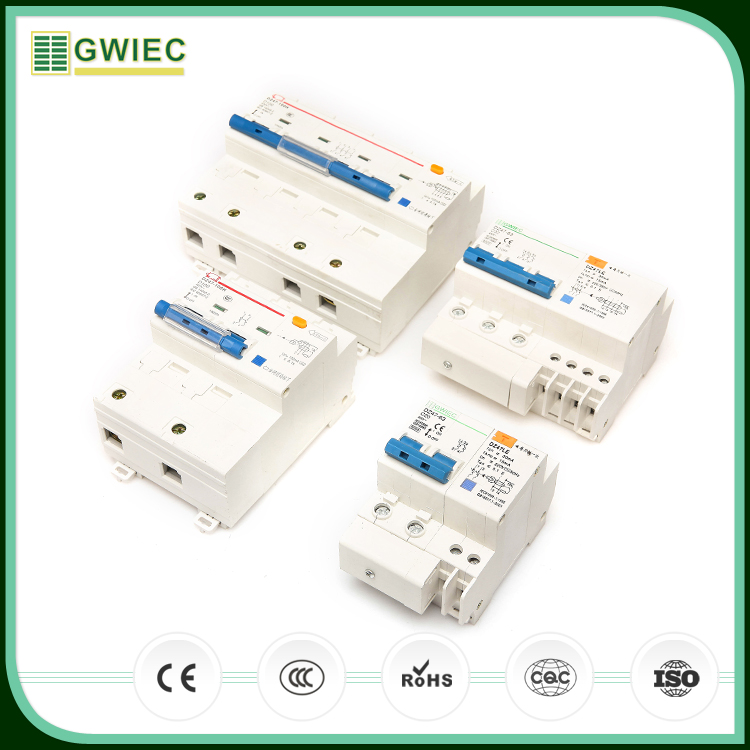 GWIEC Wenzhou Company DZ47LE RCBO 4P Residual Current Operated 4 Poles Mini Circuit Breaker