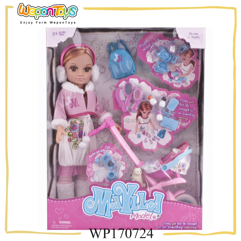 new design fashion dolls 17 inch with baby care play set baby cloth doll with stroller