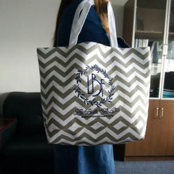 Wholesale Personalized Monogramed Chevron Tote