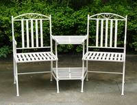 2 Seater Metal Garden Bench - Ornate Cream Heavy Duty Steel Garden Furniture