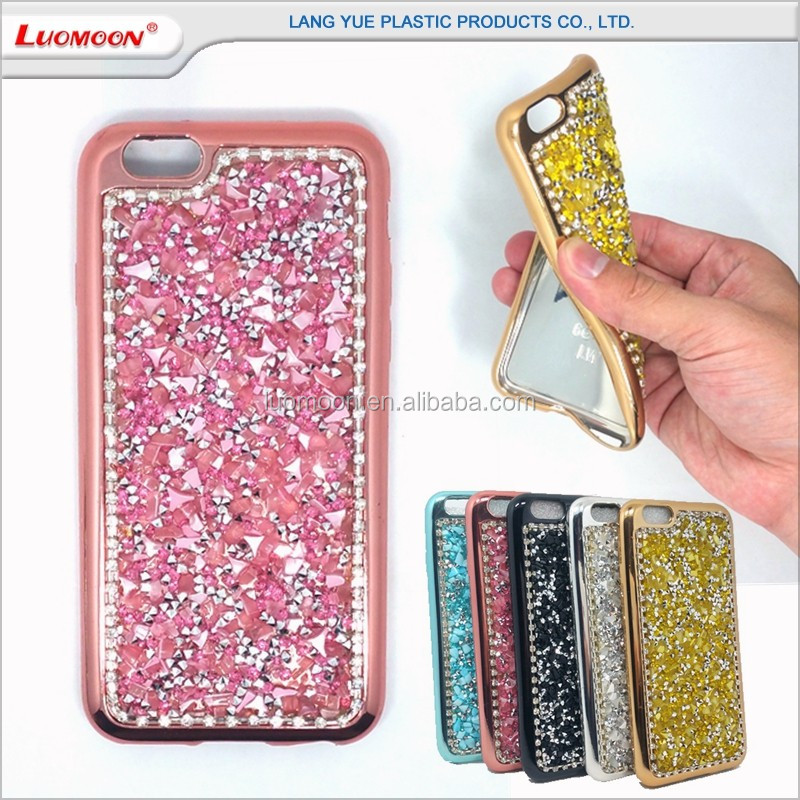 tpu plating + diamond phone case cover for iphone 4 5 6 s c se plus