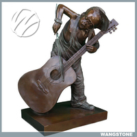 Cute Boy Plays the Guitar Bronze Sculpture