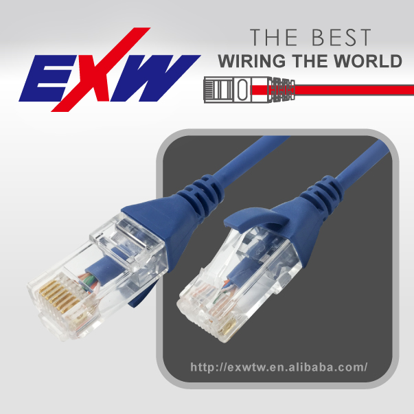 RJ45 8p8c 4 pairs twisted Plug UTP Cat6 28AWG slim Unshielded patch cord