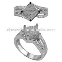 Wholesale silver jewelry micro pave turkey men silver ring
