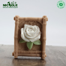 R0990 zibo nicole flower silicone rubber soap making tools nicole soap mold industrial soap mold