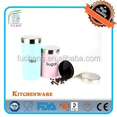New colorful kitchen canister set in light pink powder coating