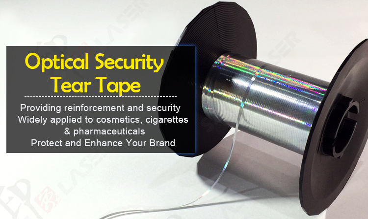 2.5MM PET Self-adhesive Metallized tear tape with Holographic Image