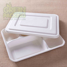 5 compartment and lids white sugarcane Japanese food container
