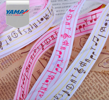 YAMA Musical Note Character Printed Grosgrain Ribbon Manufacturers
