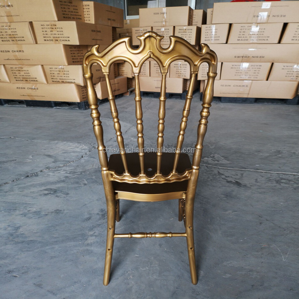 Outdoor Wedding Banquet Gold Color Acrylic Resin Royal Chair