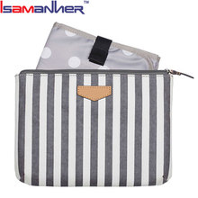 Isamanner fashion stripe mummy pouch outdoor small diaper bag designer