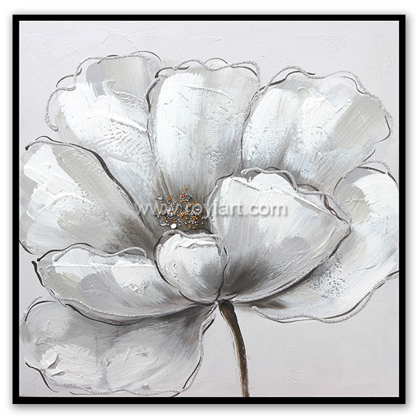 Modern style white flower diamond canvas oil painting for wall art