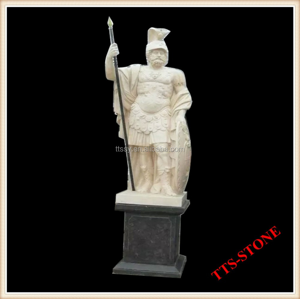 Marble greek warrior statue sculpture