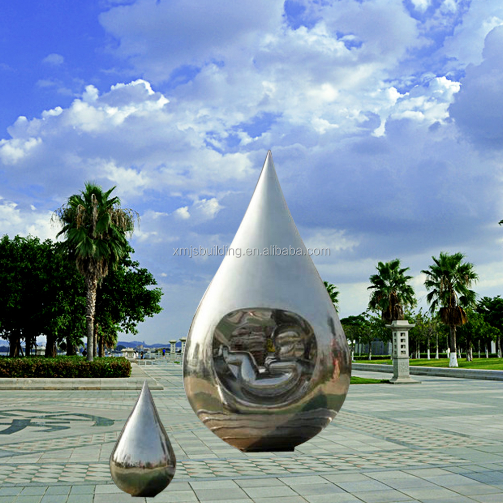 High polished contemporary abstract customized large metal water drop outdoor modern decoratin sculpture