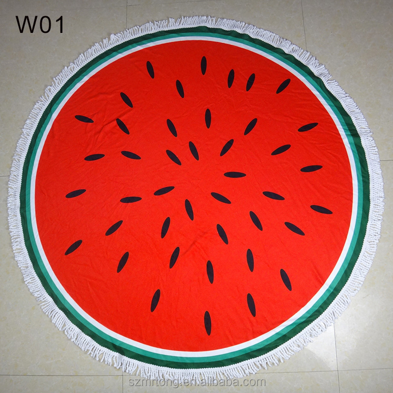 Newly Desighed 100% Polyester microfiber round beach towel with watermelon pattern
