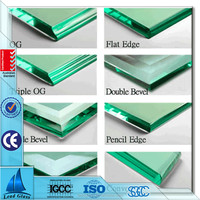 Polished bevelled edge toughened glass for fireplace hearth plates