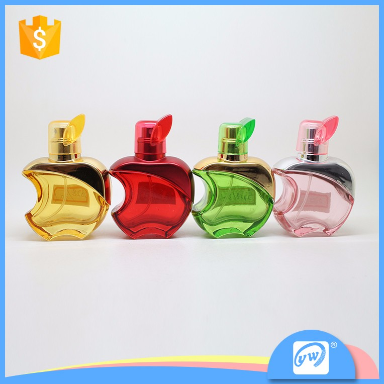 A2828-30ML apple shape colorful perfume glass bottle with uv cap