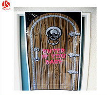 Happy Halloween Skull Shape Printed Door Cover Halloween Decoration with plastic material