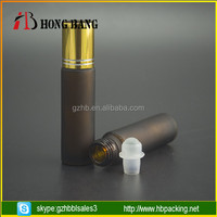 5ml amber frosted roll on glass bottle with gold aluminium cap for perfume