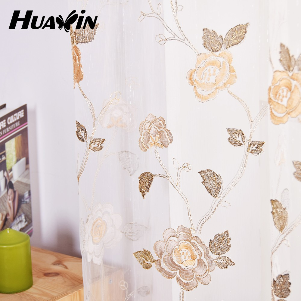 beautiful flower pattern embroidery fabric used for window gauze embroidery curtain voile