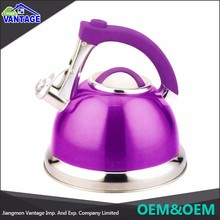 High quality double bottom stainless steel pink whistling kettle for home use