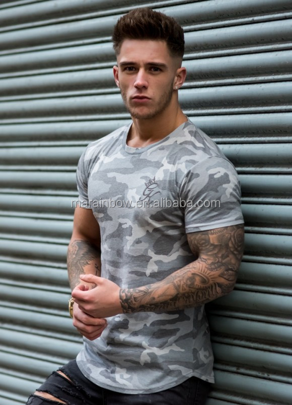 95% Polyester 5% Spandex Men's Slim Fit Longline T-Shirt Short Sleeve Curved Hem Tee Fashion Grey Camo T Shirt