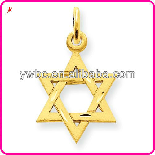 Newest gold david star religion pendant necklace charms