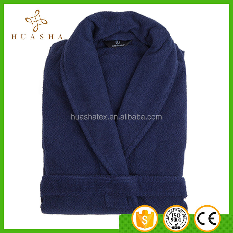 Super Soft hand touch thick coral fleece navy color bathrobe collar style flannel pajamas robes unisex bath robe