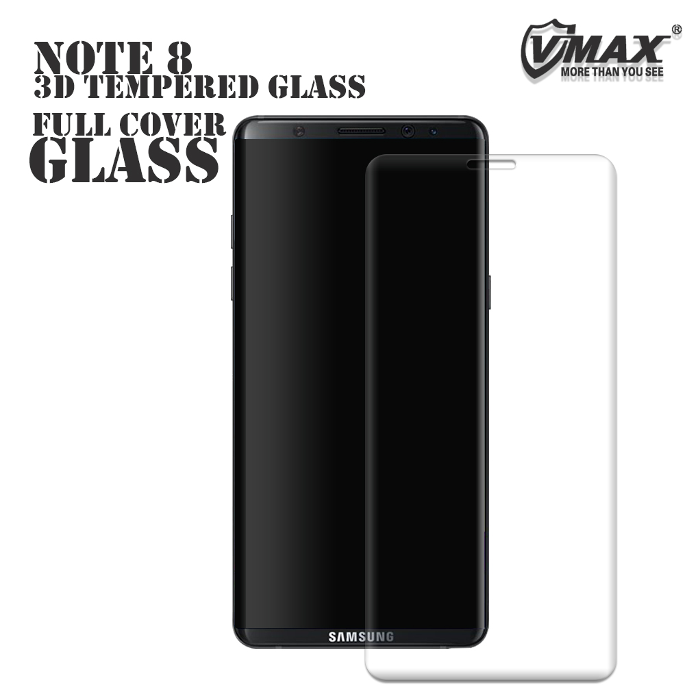 Vmax 100% Full Size !! 0.33mm Thickness 9H 4D Premium Tempered glass screen protector for Samsung note 8