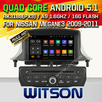WITSON Android 5.1 DOUBLE DIN CAR DVD RADIO GPS For RENAULT Megane III WITH CHIPSET 1080P 16G ROM WIFI 3G INTERNET DVR
