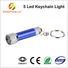 Factory Bulk Sale Cheap Aluminum LR41 Button Cell Operated Bright Pocket Small Metal 5 led Light Keychain