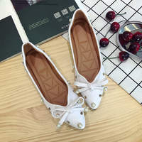 KS0117A PU leather fashion bead designs flat single shoes for young women