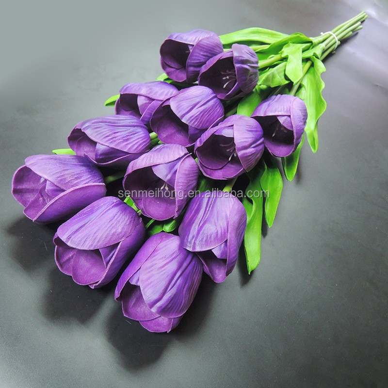 Factory Produce multi-color artificial flower mini tulip flower with Leaves