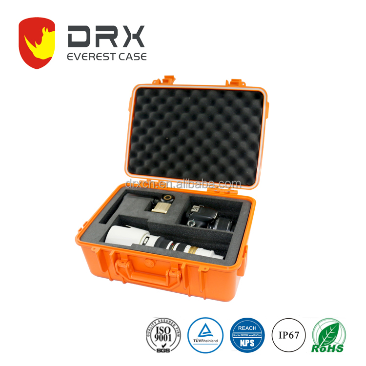 Professional waterproof plastic camera equipment case with foam