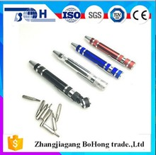 Pen shape 8 in 1 multi aluminum alloy screwdriver set from china