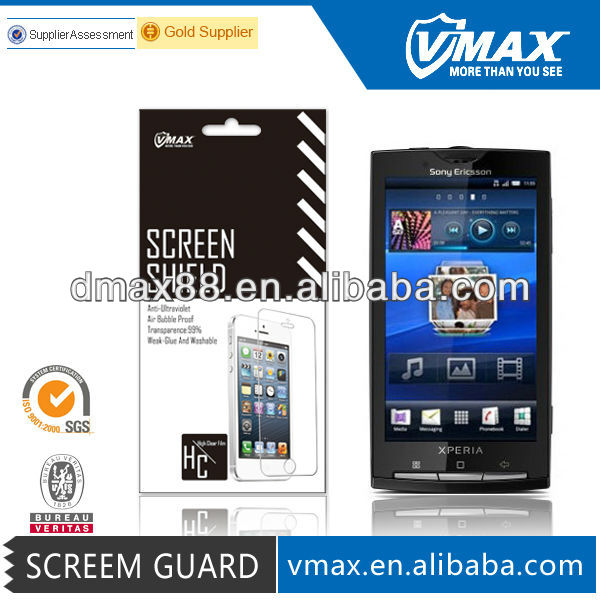 Clean screen protectors for cell phone for Sony ericsson xperia x10 oem/odm(High Clear)