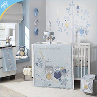 Super breathable crib owl animals eco-friendly wholesale bedding set for baby boy girl