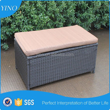 Save Space Hot Knock Down Design Multifunction Ottoman Rattan Storage Box with Cushion RS1334