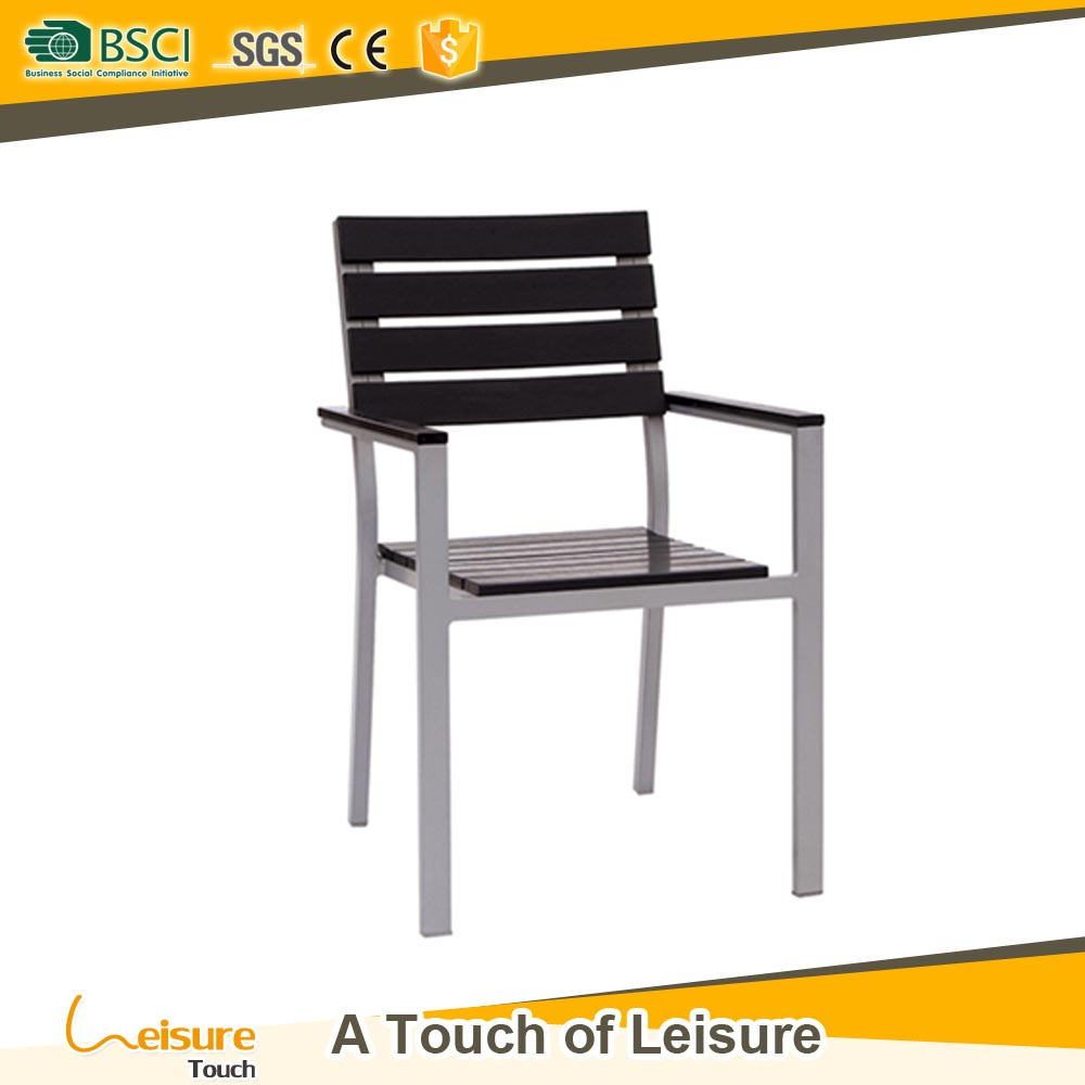 All weather outdoor dinner chair furniture poly wood low stacking restaurant arm chair