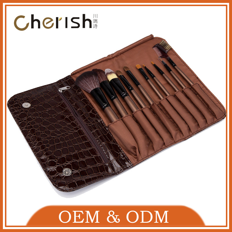 High quality Synthetic Hair wholesale Coffee 10pcs make up brush sets with makeup brush bag