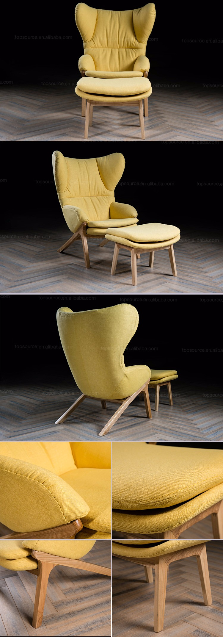 Yellow Color Modern Design Single Chair With Footrest