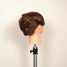 18 inch 100% Long Real Dark Brown Human Hair Practice Mannequin Manikin Training Head with Clamp