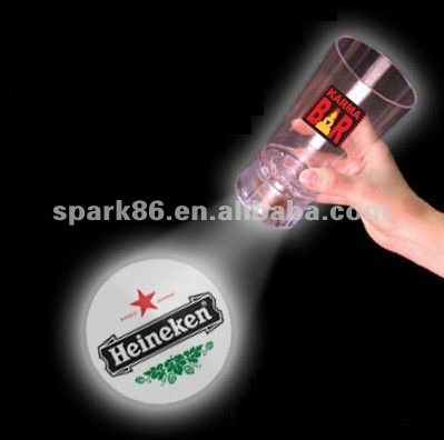 light up led projector wine glass ( 16oz,on/off switch , CE,RoHS approval)