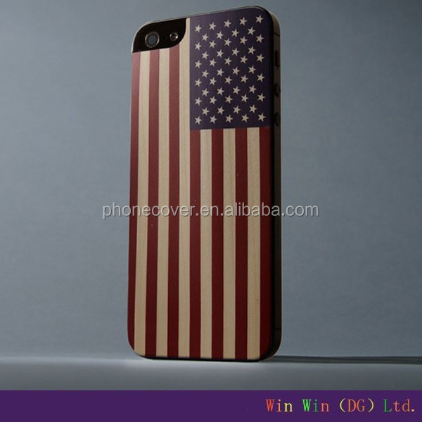 USA flag style metal frame wood mobile phone case for iphone 5,for iphone6 cover wooden cell phone shell