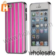 Electroplating Mirror Effect Vertical Stripes Aluminum Case for iPhone 5S 5