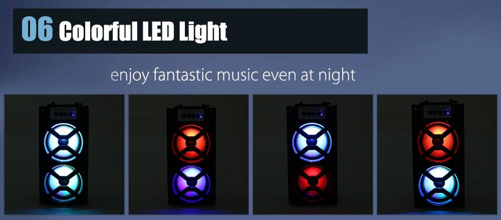 MS-147BT LED Light Wireless BT Portable Hand Speaker High Power FM Radio Audio Music Player Support TF Card USB