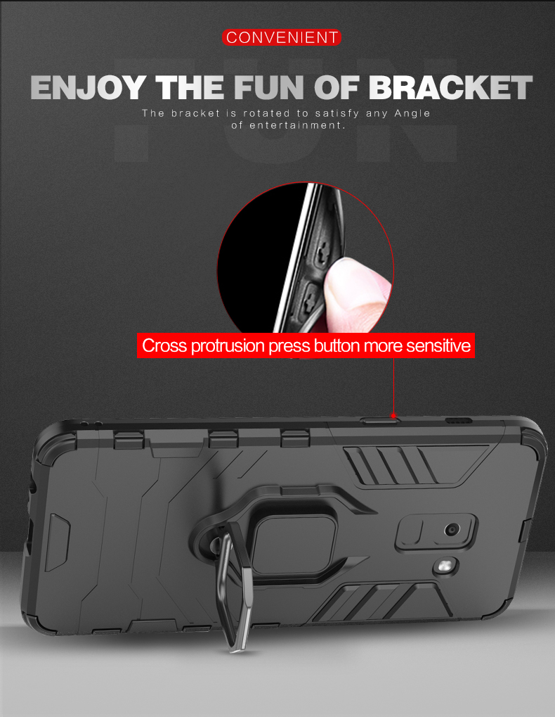 Magnetic Attraction Finger Ring Kickstand Dual Layer shockproof case for samsung a8 2018 cover