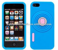 Fashion Silicone Camera Case for iPhone 5 Soft Cover With Stand Design