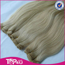 Wholesale 100% virgin remy no silicone human hair,best quality white blonde hair weaving